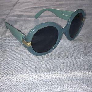 Salvatore Ferragamo Blue Circle Frame Sunglasses